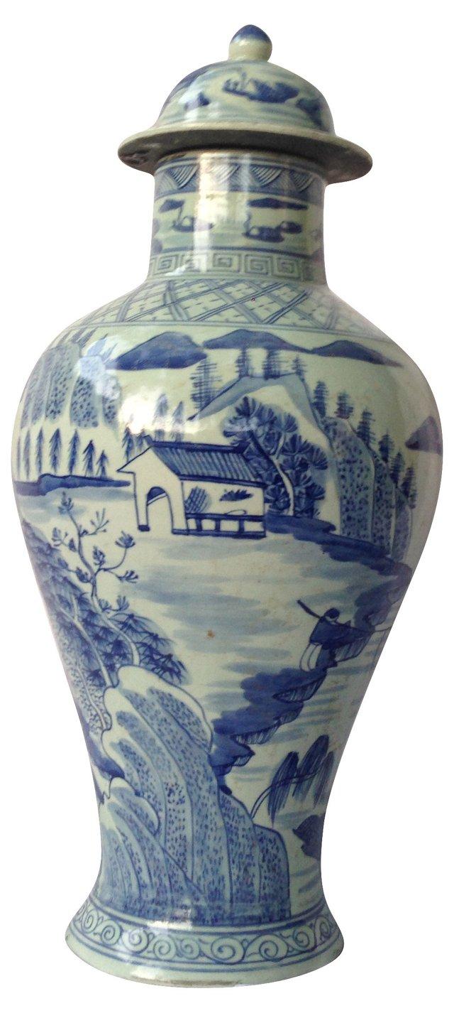 Chinese Village Scene Vase W/ Lid