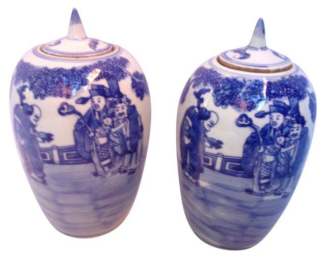 Blue & White  Ginger  Pots,  Pair