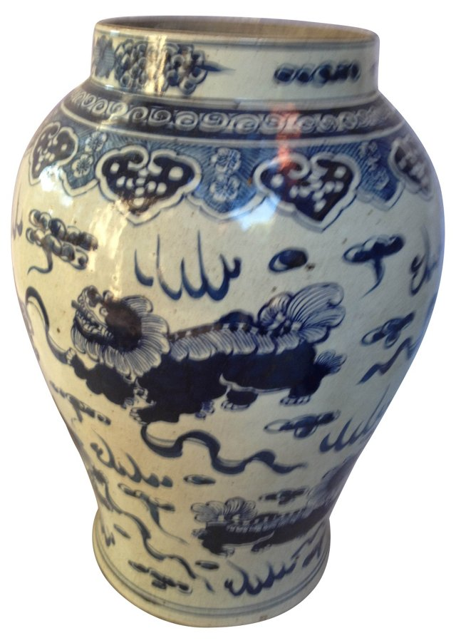 Blue & White Hand-Painted Urn