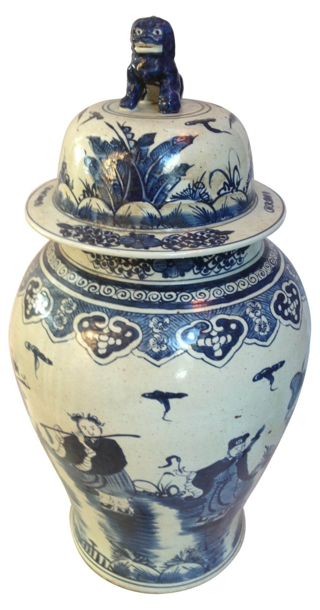 Chinese Hand-Painted Urn w/ Foo Dog Lid