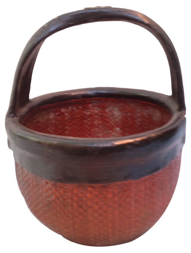 Chinese Red & Black Lacquer Basket
