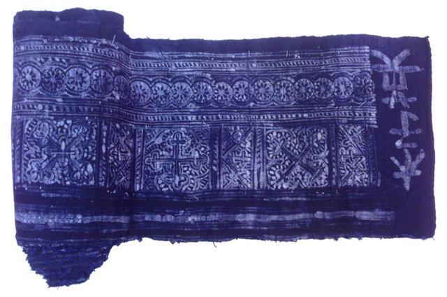 Homespun Indigo Batik Textile, 8.5 Yds
