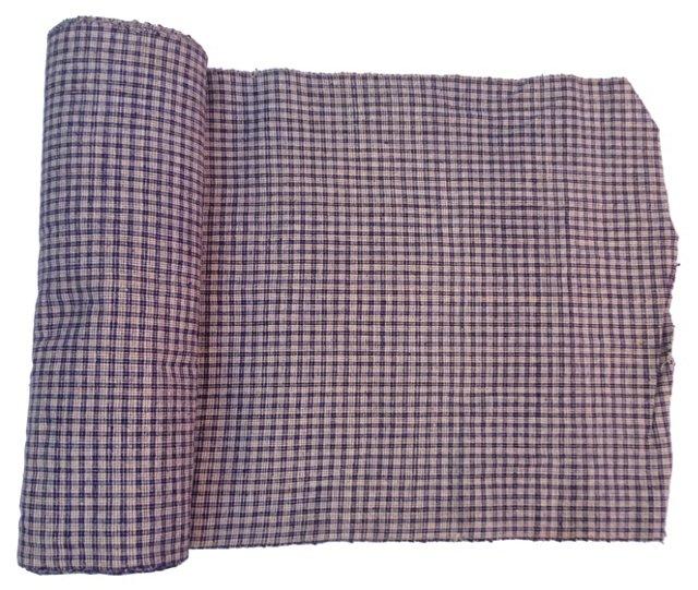 Indigo Plaid Fabric, 7 Yds