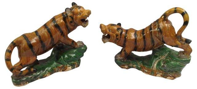 Majolica Tigers, Pair