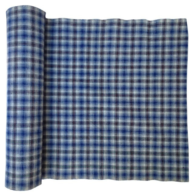Plaid Indigo Textile, 6.4 Yds