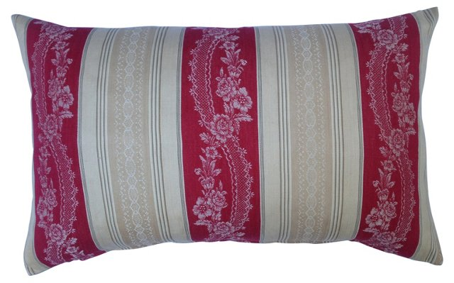 French Floral Mattress Ticking Pillow