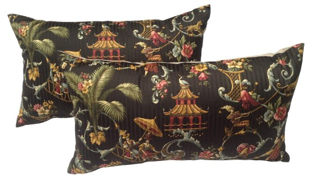 Black Chinoiserie Pillows, Pair