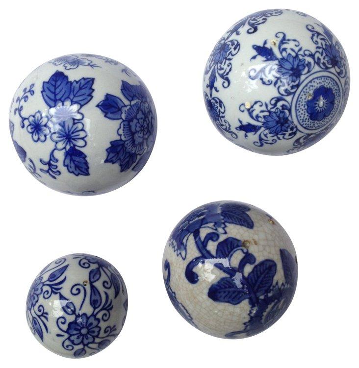 Blue & White Porcelain Carpet Balls, S/4