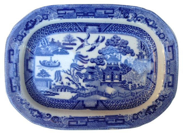 19th-C. Blue & White Wall  Platter