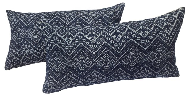 Blue & White Tribal Pillows, Pair