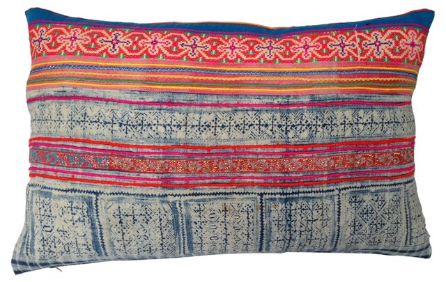 Pillow w/ Intricate Batik Textile