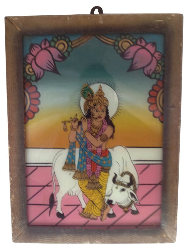 Indian Églomisé Krishna, Goddess of Love