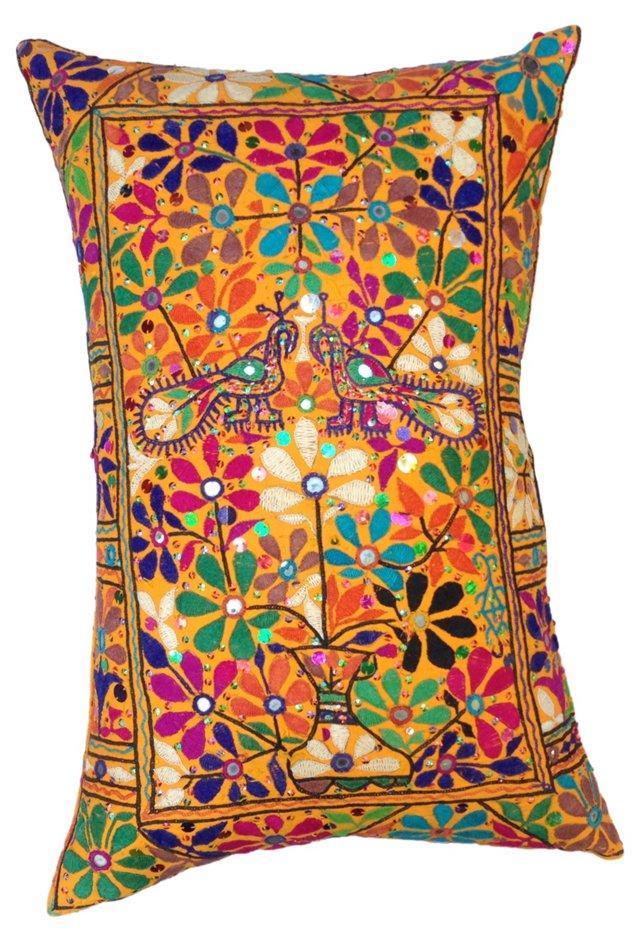Indian Flower Pot W/ Peacocks Pillow