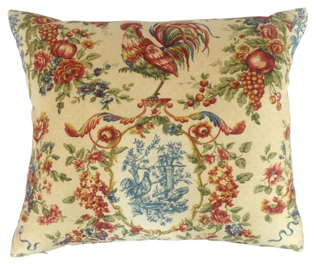 Pillow w/ French  Country  Chickens
