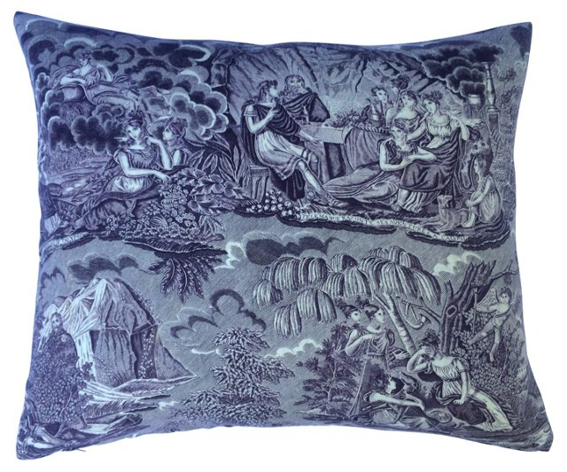 Pillow w/ 18th-C. French Toile Fragment