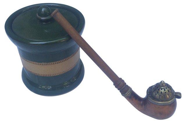 Edwardian Tobacco Jar w/ Pipe