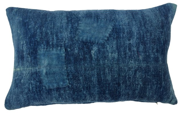French Indigo Patched Pillow