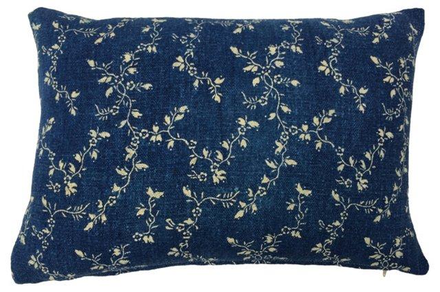 French    Indigo Floral Vine Pillow