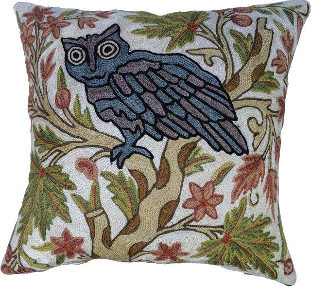 Crewel Work Owl Pillow