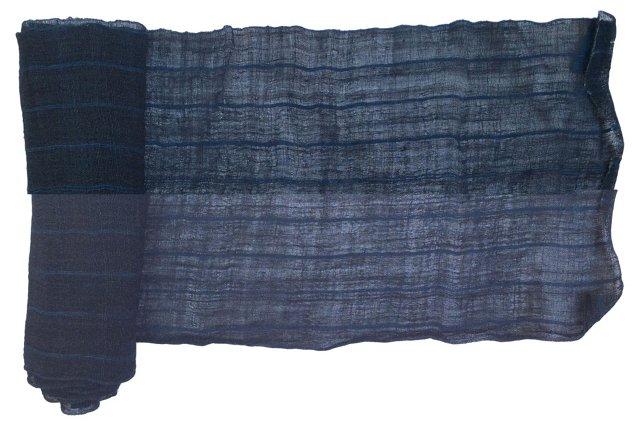 Hand-Spun Striped Indigo Linen,  5.2 Yds