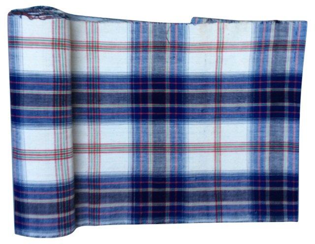 Handwoven Plaid Textile, 11.4 Yds