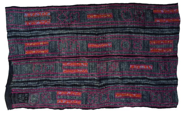 Indigo Batik Panel w/ Embroidery