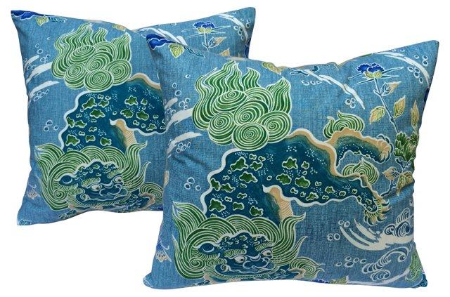 Brunschwig & Fils Dragon Pillows, Pair