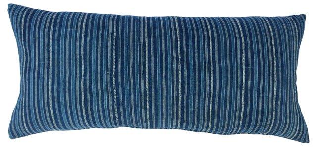 African Striped Indigo Pillow