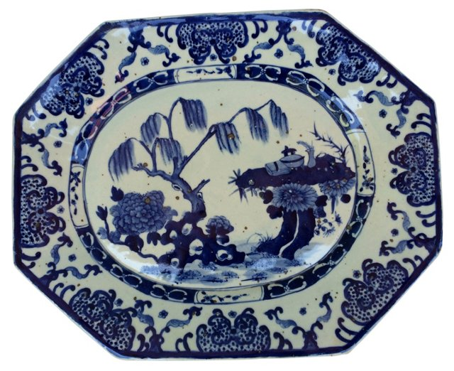 Blue &   White Chinese Willow Platter