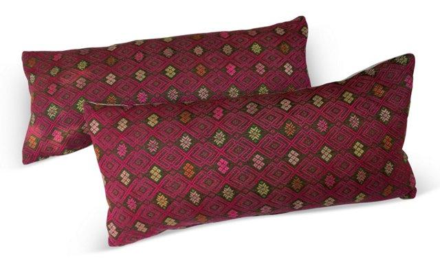 Pillows w/ Antique Marriage Quilt, Pair