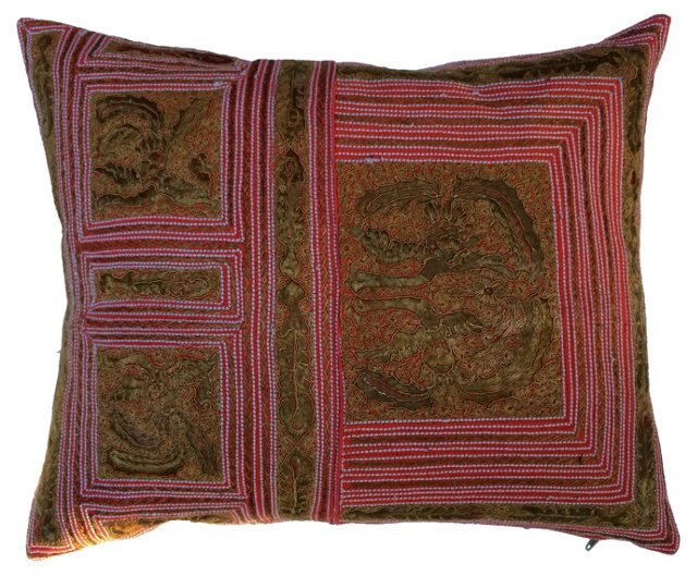 Intricate Tribal Embroidered Pillow