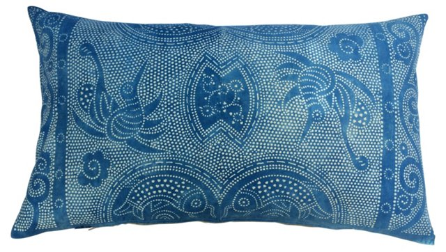 Indigo Batik Pillow w/ Birds & Fish