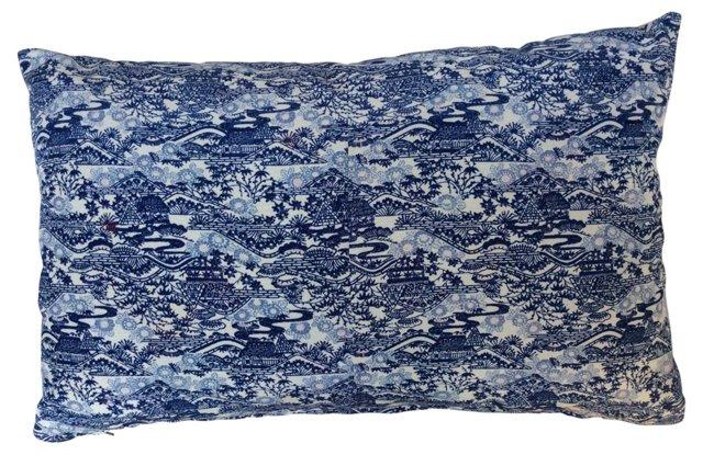 Pillow w/ 1920s Blue   & White   Kimono