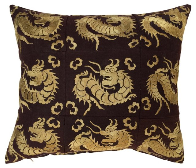 Pillow w/ Embroidered Dragons