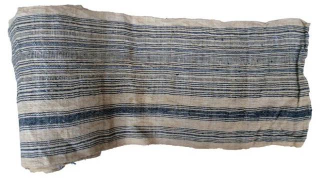 Handwoven Striped LinenTextile, 8.7 Yds