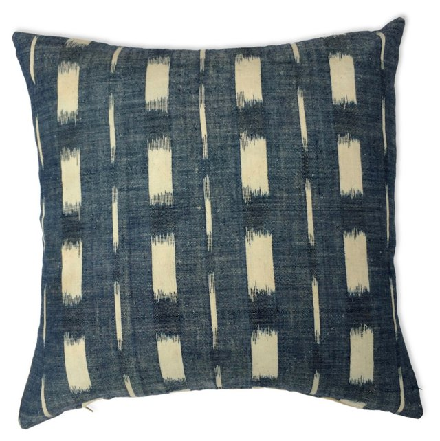 Pillow w/ 19th-C. French  Indigo Ikat
