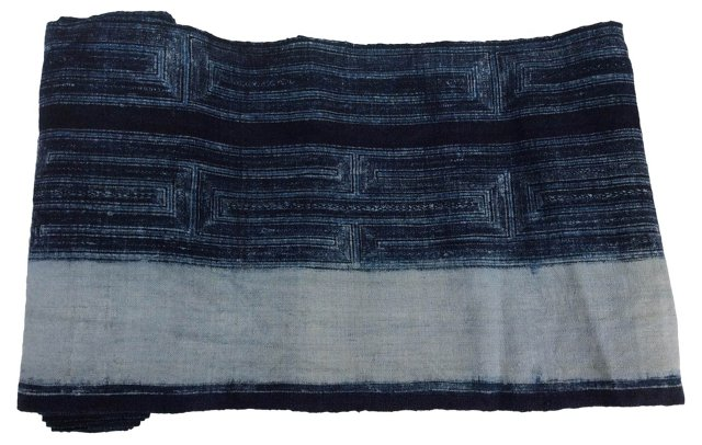 Hand-Blocked Indigo Batik, 2.8 Yds