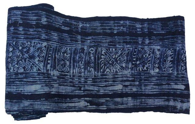Hand-Blocked   Batik Textile, 6.9 Yds