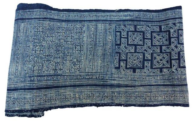 Hand-Blocked   Batik Textile, 5.9 Yds
