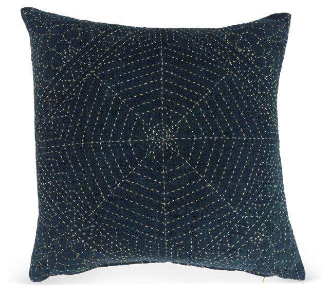 Antique Indigo Pillow w/ Spiderweb