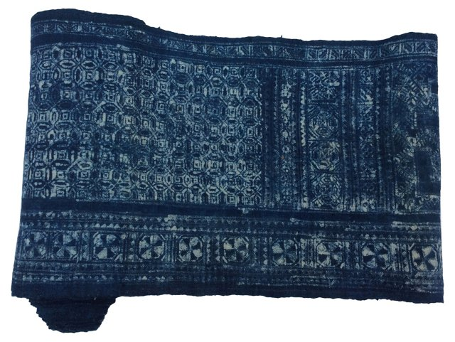 Hand-Blocked Batik   Textile, 6.3   Yds