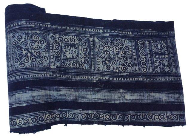 Hand-Blocked Batik Textile, 7.8 Yds