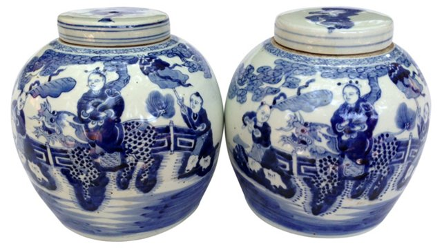 Chinese Lidded Ginger Jars,     Pair