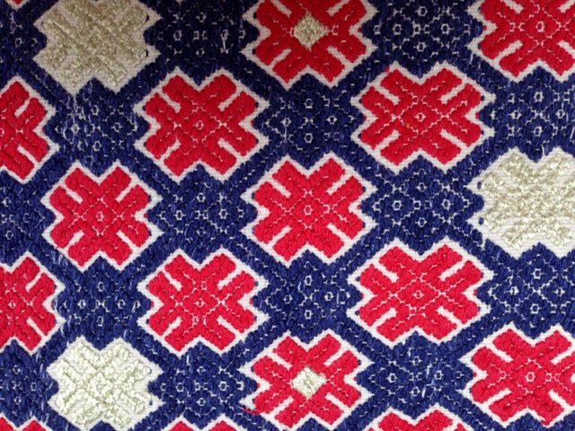 Red & Blue Tribal Marriage Quilt Textile