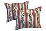 French Floral Rose Vine Pillows, Pair