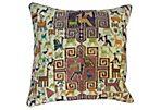 Silk Sumak  Rug Pillow w/ Animal Motif