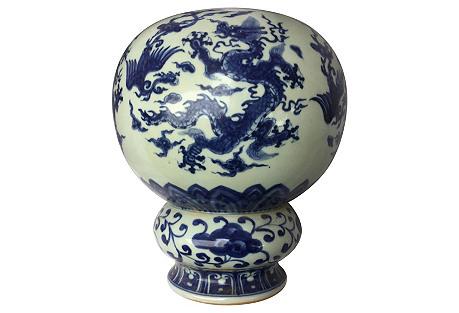 Blue & White Dragon Flower Frog Vase