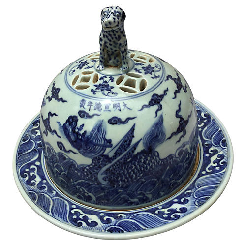 Blue & White Chinese Bowl w/ Foo Dog Lid