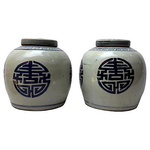 Blue & White Chinese Ginger Jars, S/2
