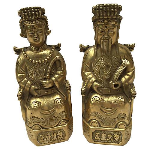 Brass Chinese Emperor & Empress, Pair
